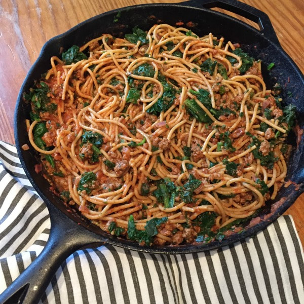 Skillet Noodles and Beef with Spinach